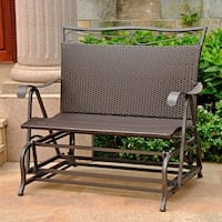 International Caravan Valencia Resin Wicker / Steel Frame Double Glider Chair