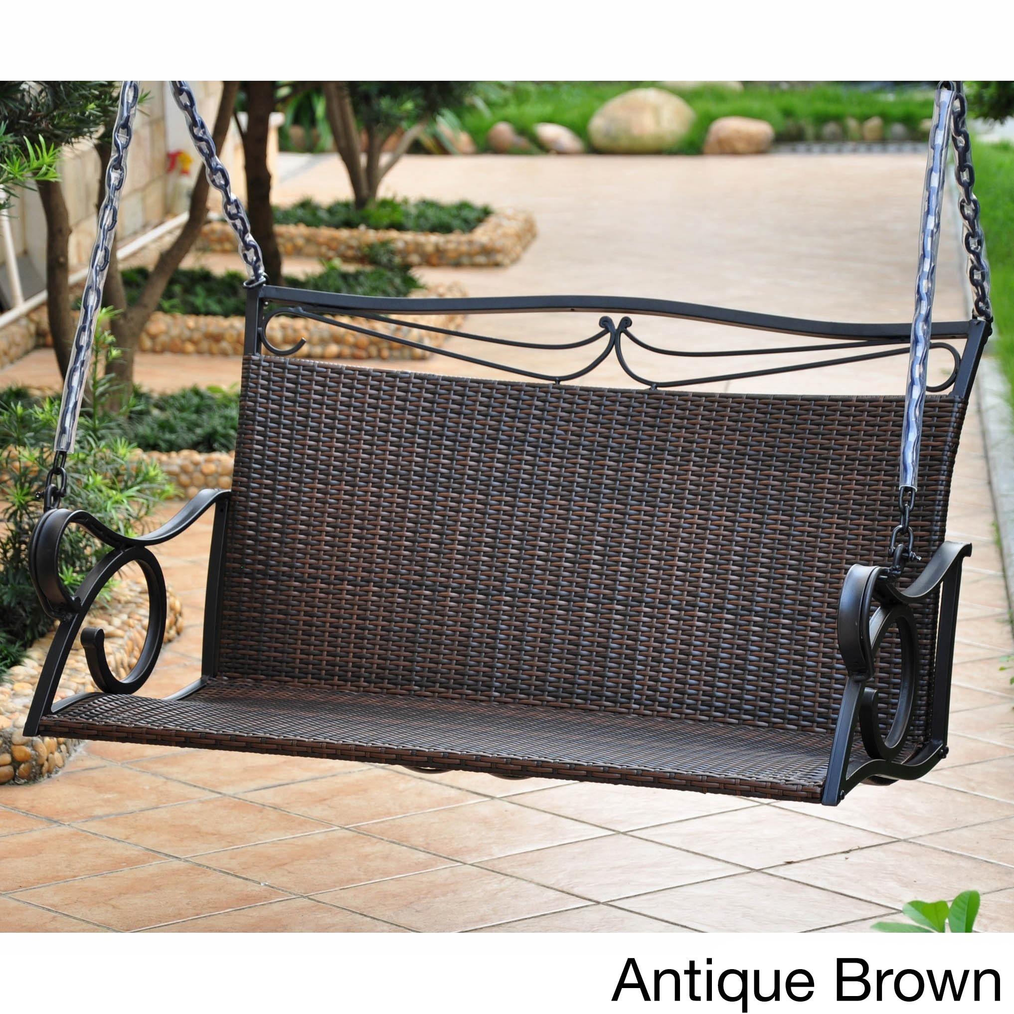 International Caravan Valencia Resin Wicker Porch Swing (...