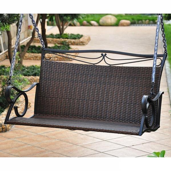 Ordinaire International Caravan Valencia Resin Wicker Porch Swing