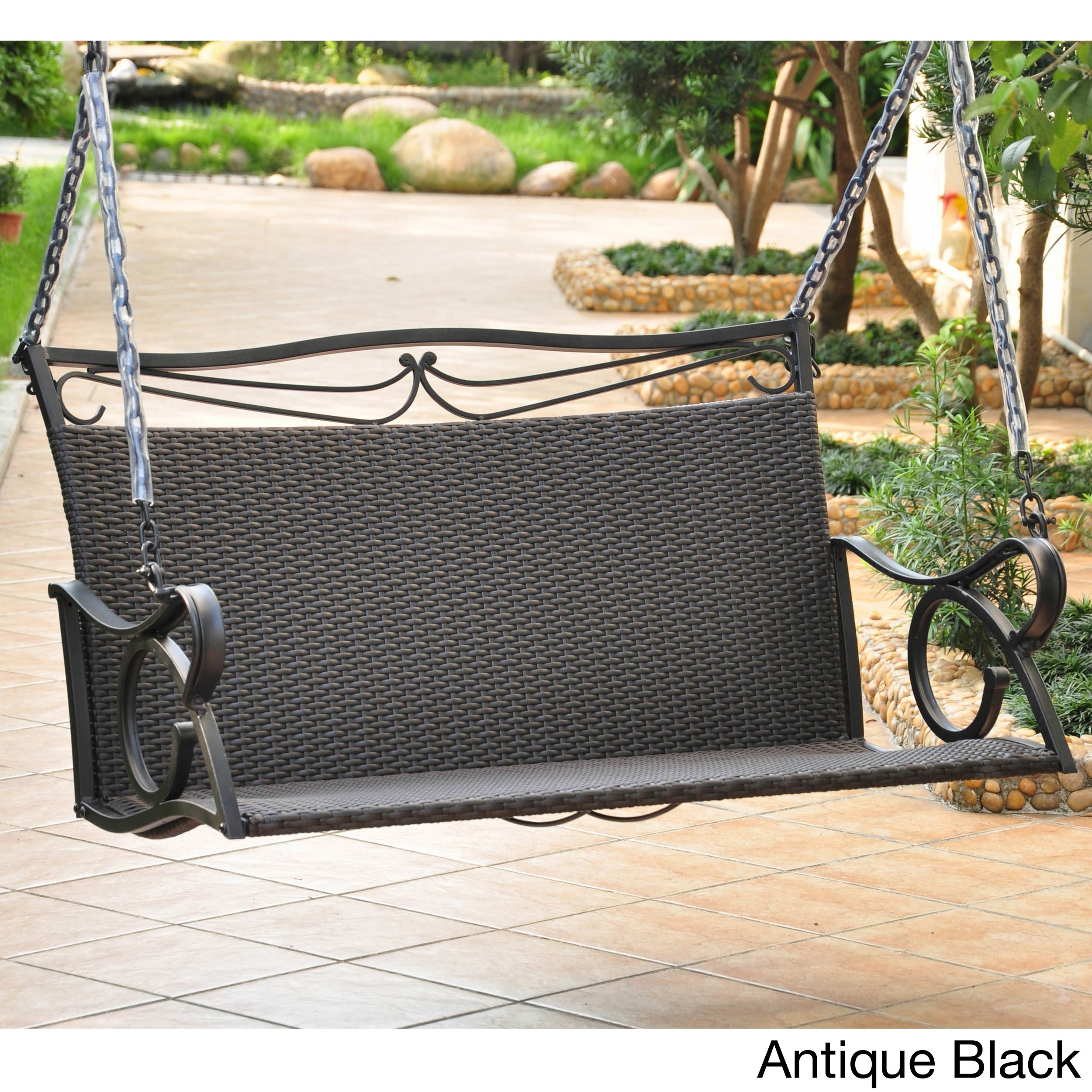 International Caravan Valencia Resin Wicker Porch Swing (...