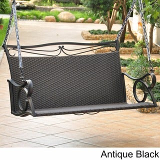 International Caravan Valencia Resin Wicker/ Steel Frame Hanging Loveseat Swing
