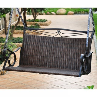 International Caravan Valencia Resin Wicker and Steel Porch Swing