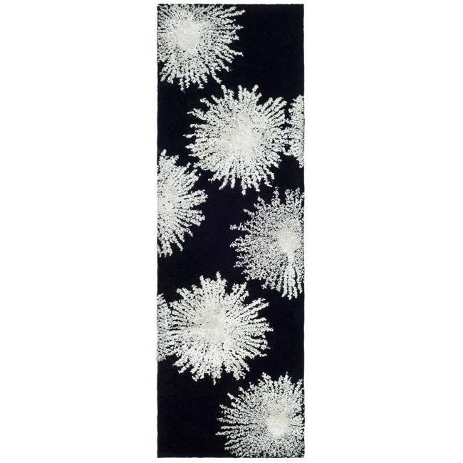 Safavieh Handmade Soho Burst Black New Zealand Wool Runner (2'6 x 12')
