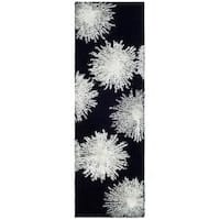"Safavieh Handmade Soho Burst Black New Zealand Wool Runner - 2'6"" x 14'"