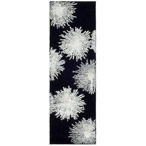 "Safavieh Handmade Soho Burst Black New Zealand Wool Runner - 2'6"" x 14'"