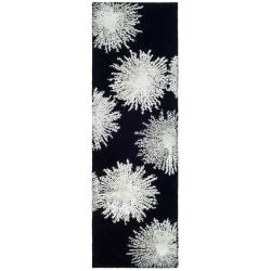 "Safavieh Handmade Soho Burst Black New Zealand Wool Runner - 2'6"" x 6'"