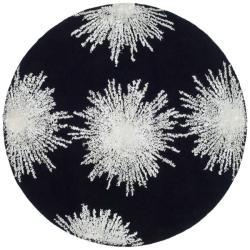 Safavieh Handmade Soho Burst Black New Zealand Wool Rug (8' Round)
