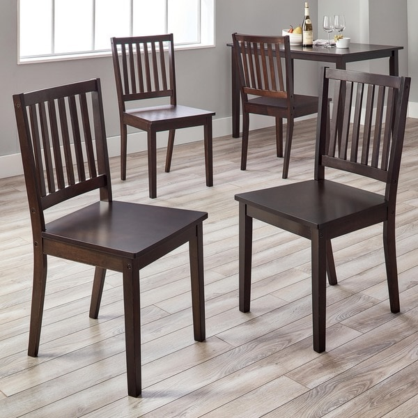 simple living slat espresso rubberwood dining chairs set of 4 - Dining Chairs Set Of 4