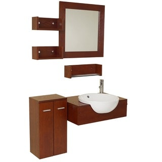 Fresca Stile Oak Modern Bathroom Vanity with Mirror and Side Cabinet