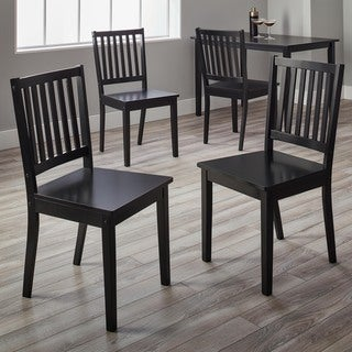 simple living slat black rubberwood dining chairs (set of 4