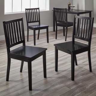 Simple Living Black Rubberwood Slat Back Dining Chairs (Set of 4)