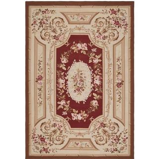 Safavieh Couture French Aubusson Asian Hand Woven Flatweave Red Wool Area Rug - 12' x 18'