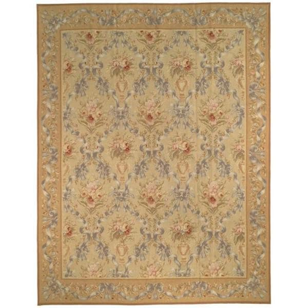 Safavieh Couture French Aubusson Hand Woven Flatweave Gold Wool Area Rug (12' x 15')