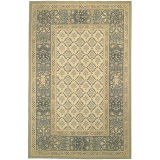 Hand-knotted French Aubusson Ivory Wool Rug (12' x 18')