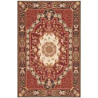 Handmade Safavieh Couture French Aubusson Flatweave Red Wool Area Rug - 8' x 10' (China)