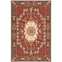 Handmade Safavieh Couture French Aubusson Flatweave Red Wool Area Rug - 9' x 12' (China)