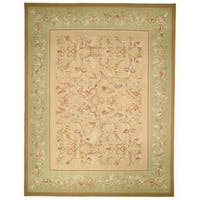 Safavieh Couture French Aubusson Asian Hand Woven Flatweave Beige/ Light Green Wool Area Rug (10' x 14')