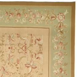 Hand-Knotted French Aubusson Beige Wool Area Rug (8' x 10') - Thumbnail 1