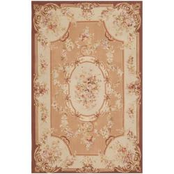 Safavieh Couture French Aubusson Hand Woven Flatweave Peach Wool Area Rug (9' x 12')