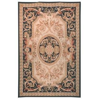 Handmade Safavieh Couture French Aubusson Flatweave Beige/ Navy Wool Area Rug (China) - 6' x 9'