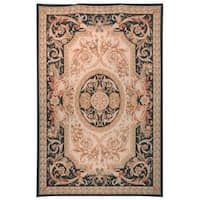 Safavieh Couture French Aubusson Hand Woven Flatweave Beige/ Navy Wool Area Rug (8' x 10')