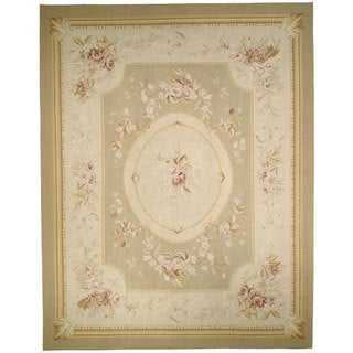 Hand-knotted French Aubusson Taupe Wool Rug (10' x 14')