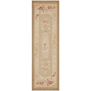 Hand-knotted French Aubusson Taupe Wool Rug (6' x 9')