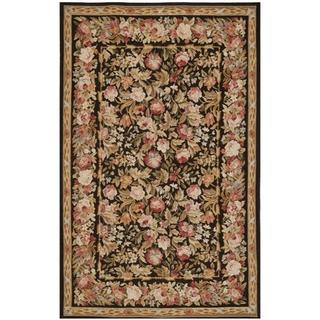 Handmade Safavieh Couture French Aubusson Flatweave Black/ Brown Wool Area Rug (China) - 8' x 10'