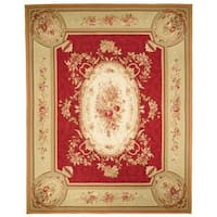 Handmade Safavieh Couture French Aubusson Flatweave Red/ Gold/ Green Wool Area Rug (China) - 6' x 9'