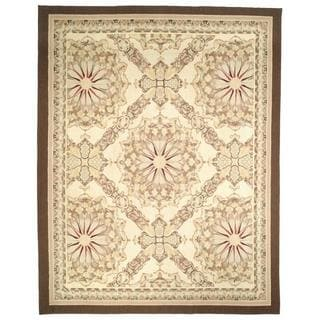 Handmade Aubusson Flatweave Red and Gold and Green Wool Area Rug - 10' x 14'