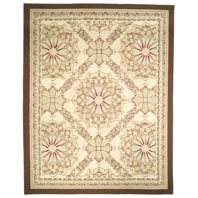 Hand-knotted French Aubusson Ivory Wool Rug (6' x 9')