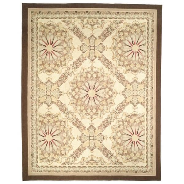 Safavieh Couture French Aubusson Hand Woven Flatweave Red/ Gold/ Green Wool Area Rug (8' x 10')