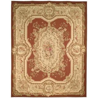 Hand-knotted French Aubusson Burgundy/ Ivory Wool Rug (12' x 18')