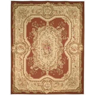 Hand-knotted French Aubusson Burgundy/ Ivory Wool Rug (8' x 10')