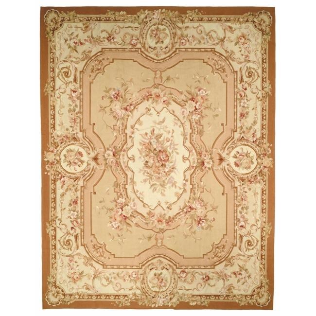 Hand-knotted French Aubusson Beige/ Ivory Wool Rug (6' x 9')