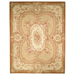 Hand-knotted French Aubusson Beige/ Ivory Wool Rug (8' x 10')