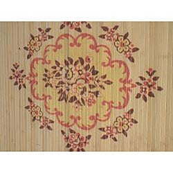 Asian Hand-crafted Persian-style Yellow Rayon from Bamboo Rug (4' x 6') - Thumbnail 1
