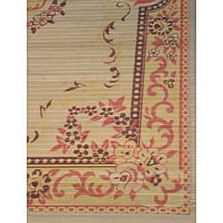 Asian Hand-crafted Persian-style Yellow Rayon from Bamboo Rug (4' x 6') - Thumbnail 2