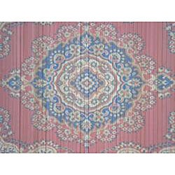 Asian Hand-crafted Persian-style Salmon/ Navy Rayon from Bamboo Rug (4' x 6') - Thumbnail 1
