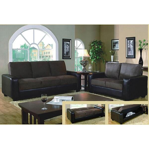 Furniture Of America Bea Dark Brown Microsuede 2 Piece Sleeper Sofa Set