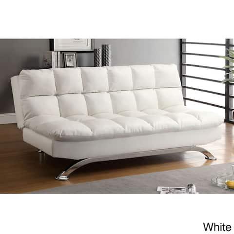 Furniture of America Pova Modern Brown Faux Leather Tufted Sofa/Futon