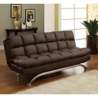 Furniture of America Pova Modern Black Faux Leather Tufted Sofa/Futon