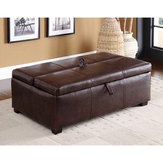 Furniture of America Kaya Bicast Leather Ottoman/ Sleeper