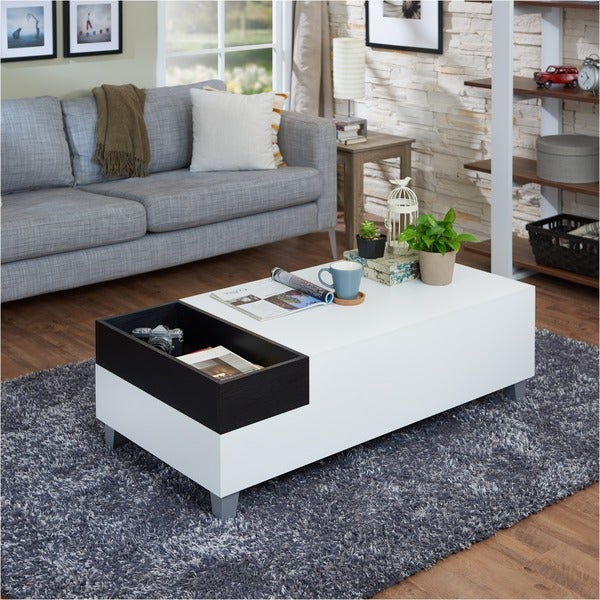 Furniture of america june white coffee table with serving for Furniture of america inomata geometric high gloss coffee table