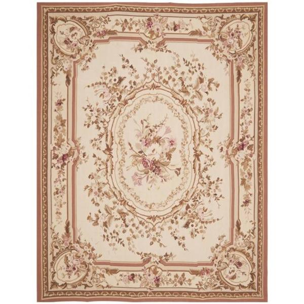 Handmade Safavieh Couture French Aubusson Flatweave Ivory Wool Area Rug 9 X27 X