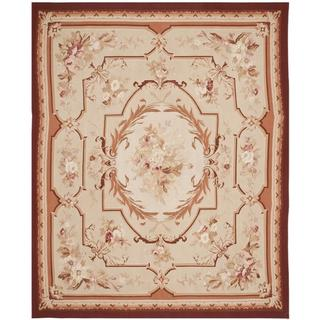 Handmade Safavieh Couture French Aubusson Flatweave Ivory/ Red Wool Area Rug (China) - 9' x 12'