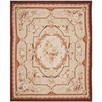 Handmade Safavieh Couture French Aubusson Flatweave Ivory/ Red Wool Area Rug - 9' x 12' (China)
