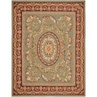Handmade Safavieh Couture French Aubusson Flatweave Taupe/ Red Wool Area Rug - 8' x 10' (China)