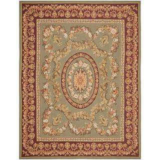 Handmade Safavieh Couture French Aubusson Flatweave Taupe/ Red Wool Area Rug (China)