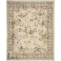 Safavieh Couture French Aubusson Hand Woven Flatweave Ivory/ Green Wool Area Rug (9' x 12')